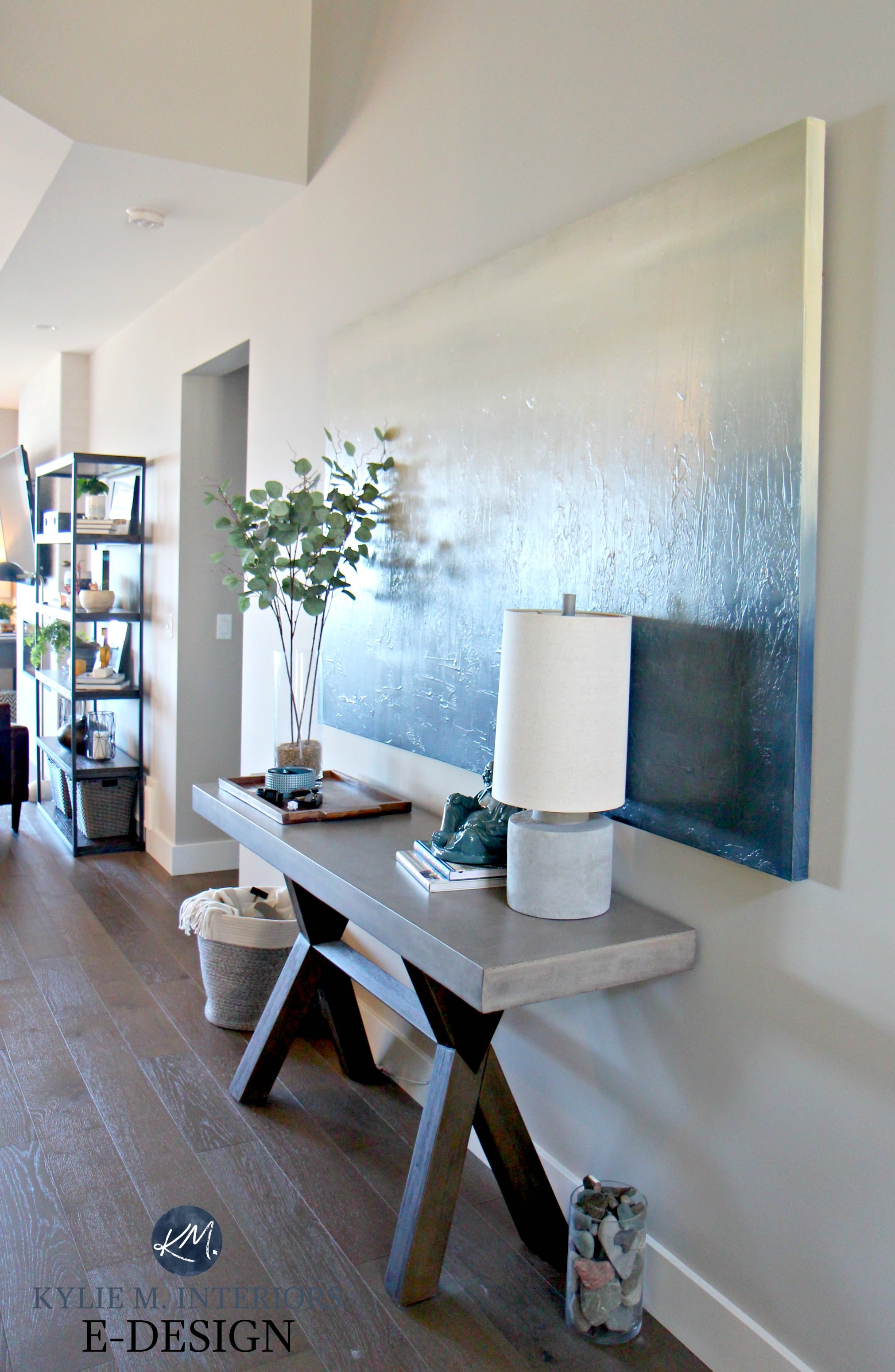 Entryway Console Table Home Decor Oversized Canvas Artwork Concrete Sherwin Williams Collonade Gray Kylie M INteriors Edesign Online Paint
