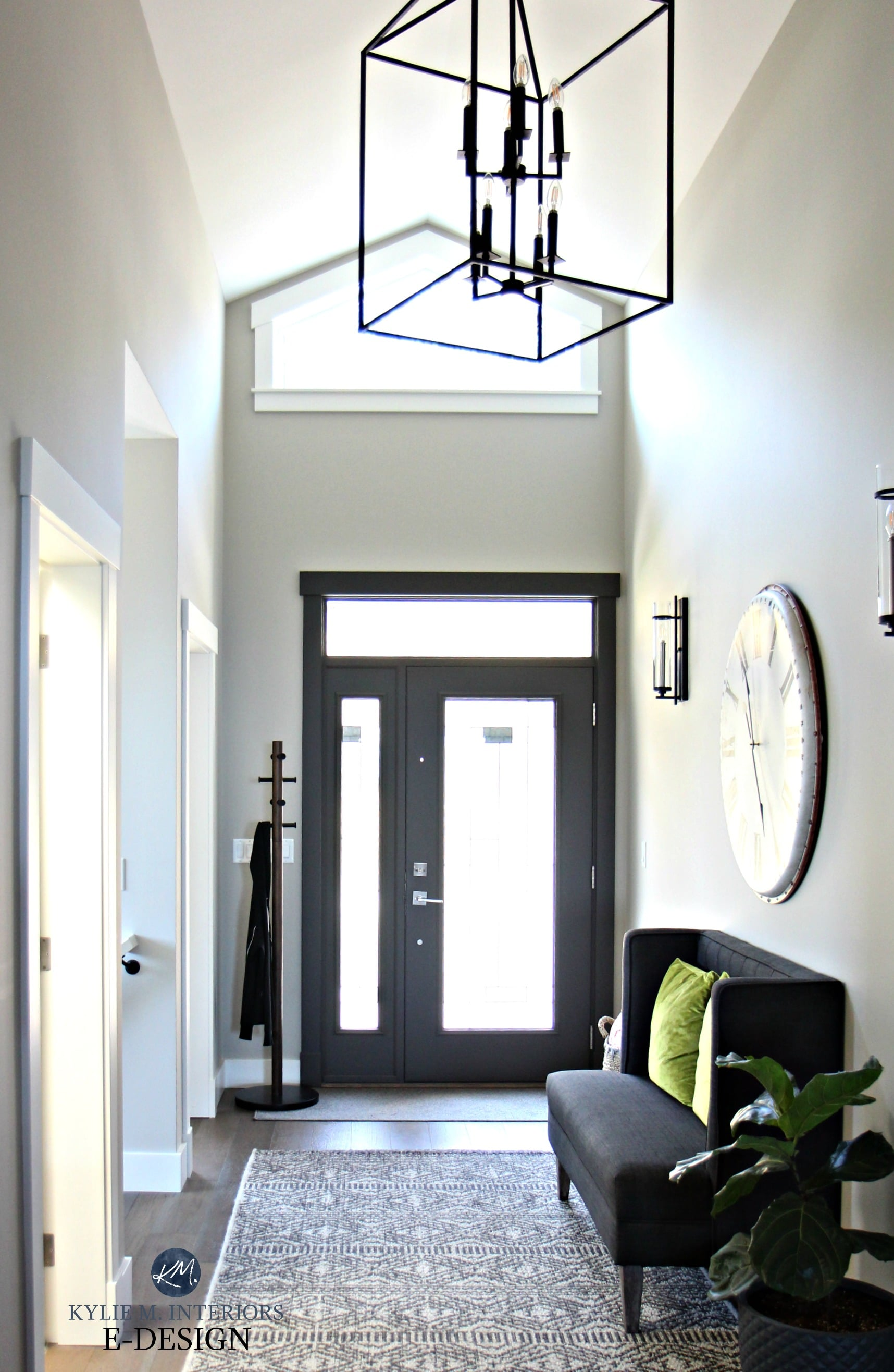 Entryway In Collonade Gray With Inside Of Front Door Painted Urbane Bronze,  Vaulted Ceiling. Kylie M INteriors Edesign, Online Paint Consulting