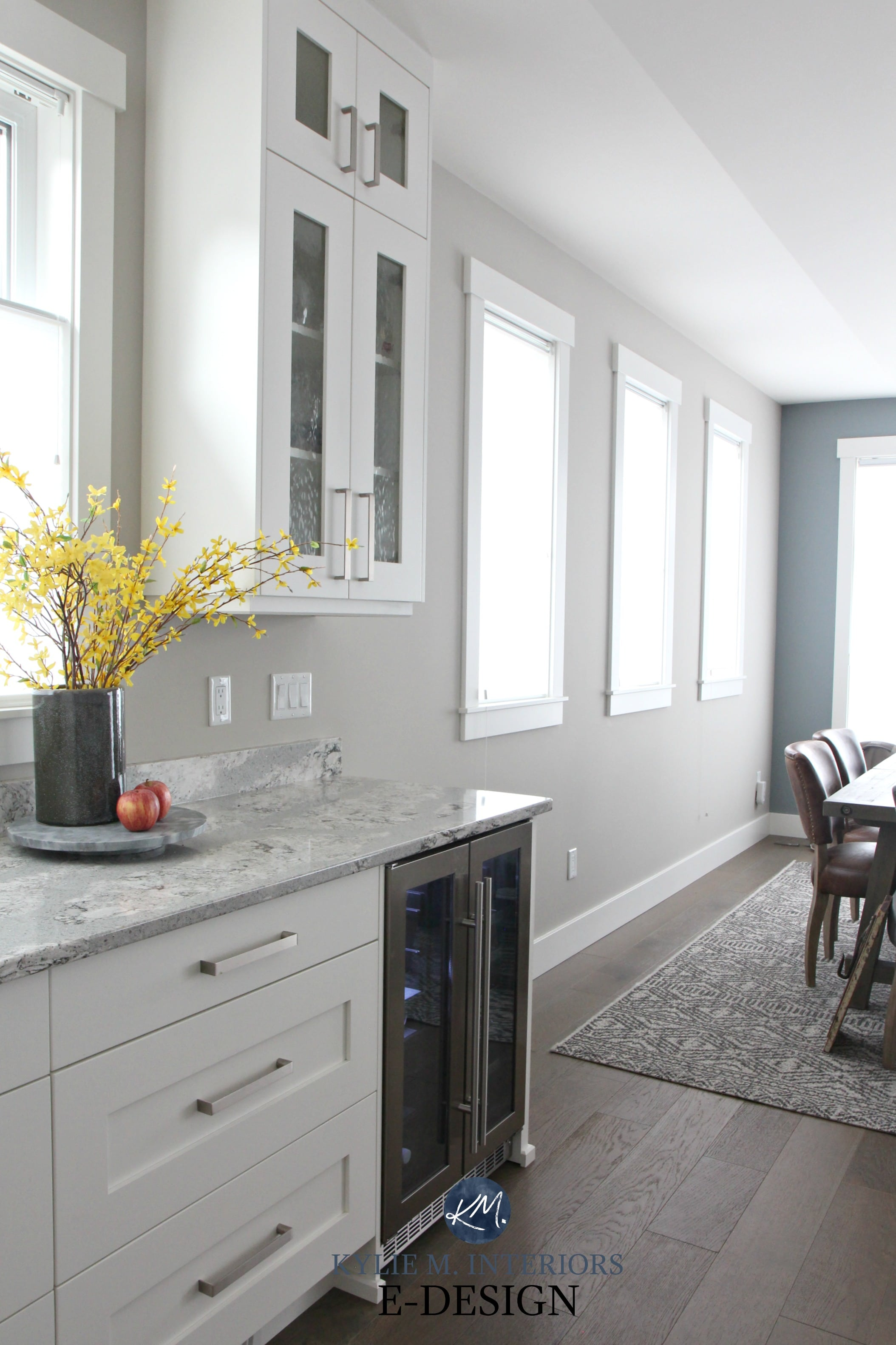 Sherwin Williams Collonade Gray In North Facing Kitchen With Alabaster Cabinets Summerhill