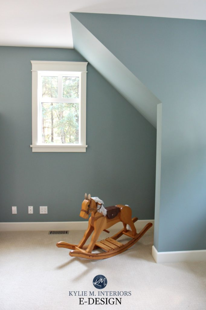 BEnjamin Moore Sea Star with beige carpet. Best blue paint colour. Kylie M Interiors Edesign, online paint colour expert and blogger
