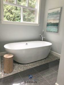 Bathroom, freestanding tub, pebble tile floor. Benjamin Moore Wickham Gray paint color. Kylie M Interiors Edesign, online decorating blog and virtual design