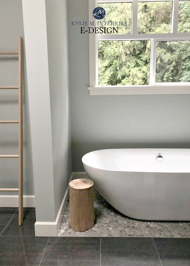 Bathroom, pebble tile floor under free-standing tub. Benjamin Moore Wickham Gray paint colour. Kylie M Interiors Edesign, online paint color consultant and decorating blog