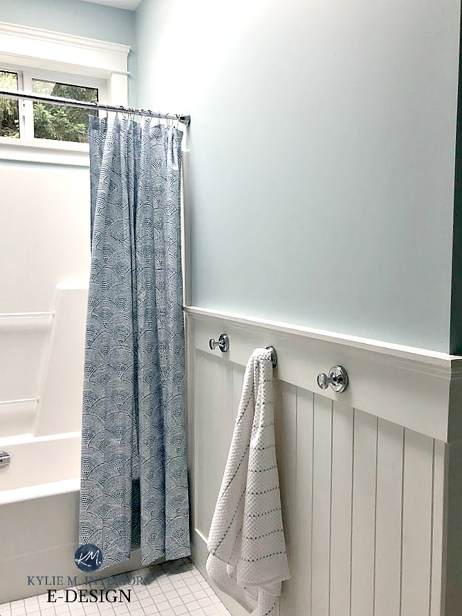 Bathroom, white wainscoting, BEnjamin Moore Ocean Air, best blue paint colour on walls with blue and white shower curtain. Kylie M Interiors Edesign, online paint color consultant