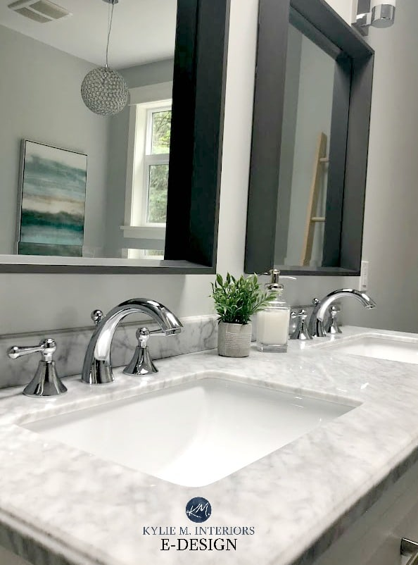 Bathroom with Wickham Gray paint colour, marble countertop. Kylie M Interiors Edesign, online decorating and color consulting blog