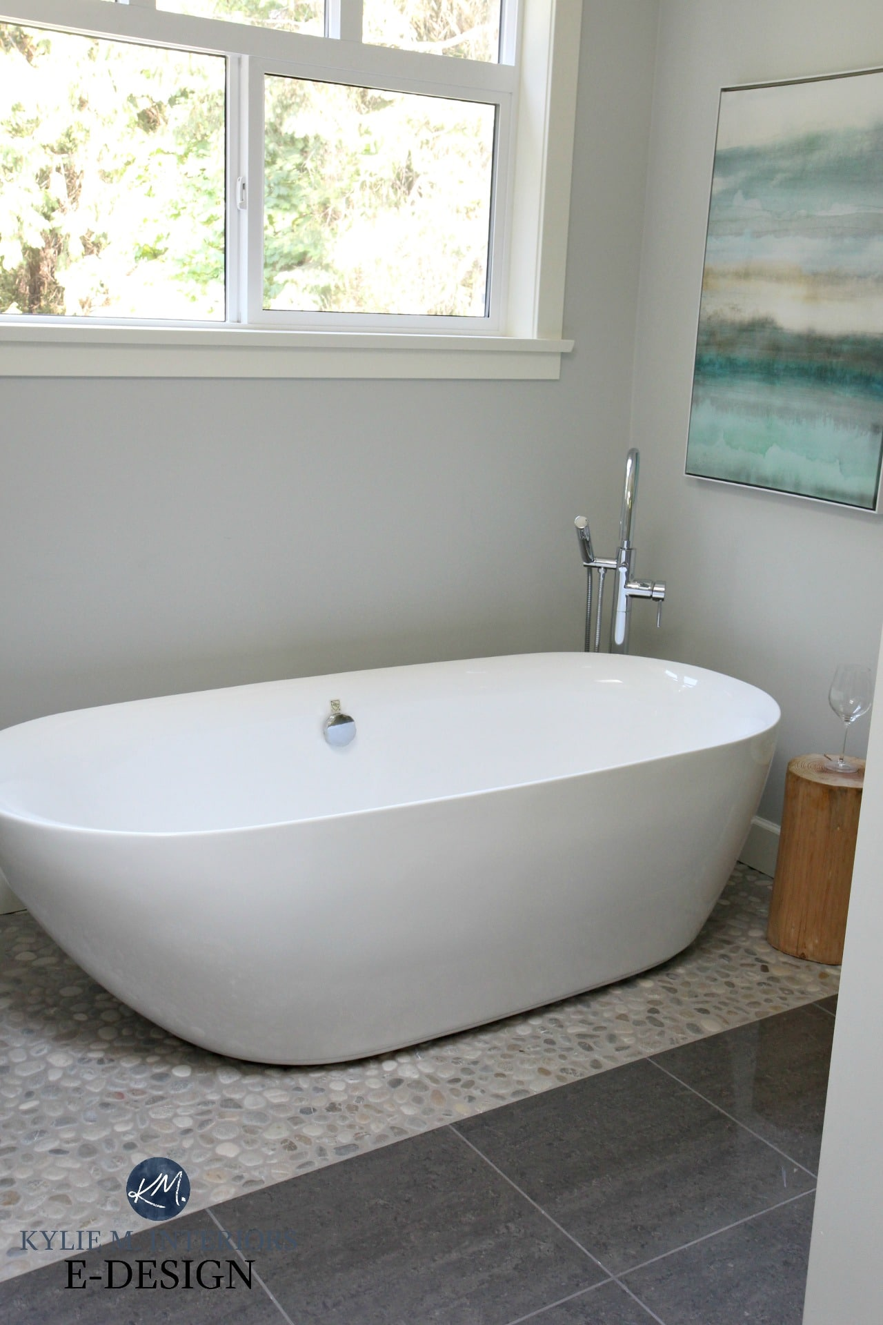 ... Tub On Pebble Tile Floor And Porcelain. Chrome Fixtures. Benjamin Moore  Wickham Gray. Kylie M Interiors Edesign, Edecor And Online Paint Colour  Expert ...