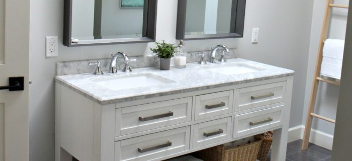 Bathroom with white double vanity, marble top. Benjamin Moore Wickham Gray. Kylie M Interiors Edesign, edecor, online paint color expert and blogger