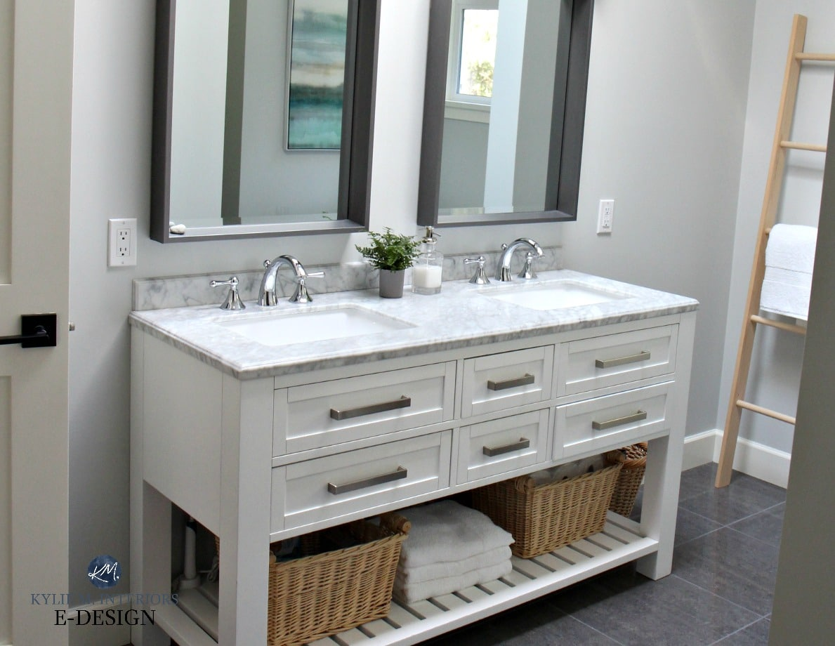 Bathroom Paint Colors With Marble bathroom with white double vanity, marble top. benjamin moore