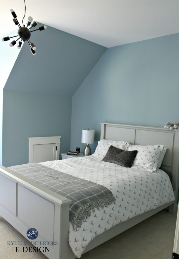 Benjamin Moore Colorado Gray in boy or tween bedroom. Gray accents and wood bed. Kylie M INteriors Edesign, edecor and online paint color consulting blog. Best blue paint colour
