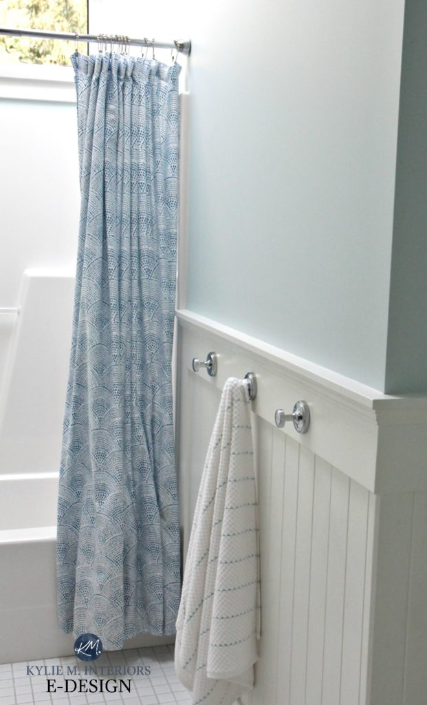 Benjamin Moore Ocean Air, best blue paint colour. Bathroom with white wainscoting, beadboard, blue shower curtain. Kylie M Interiors Edesign, edecor and online paint colour consulting blog