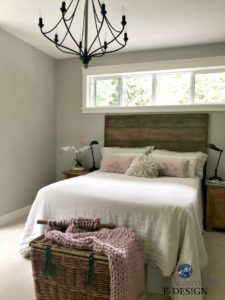 Benjamin Moore Revere Pewter, master bedroom, reclaimed wood headboard, chandelier. Pink rose accents. Kylie M Interiors Edesign, online paint color consulting, decorating blog