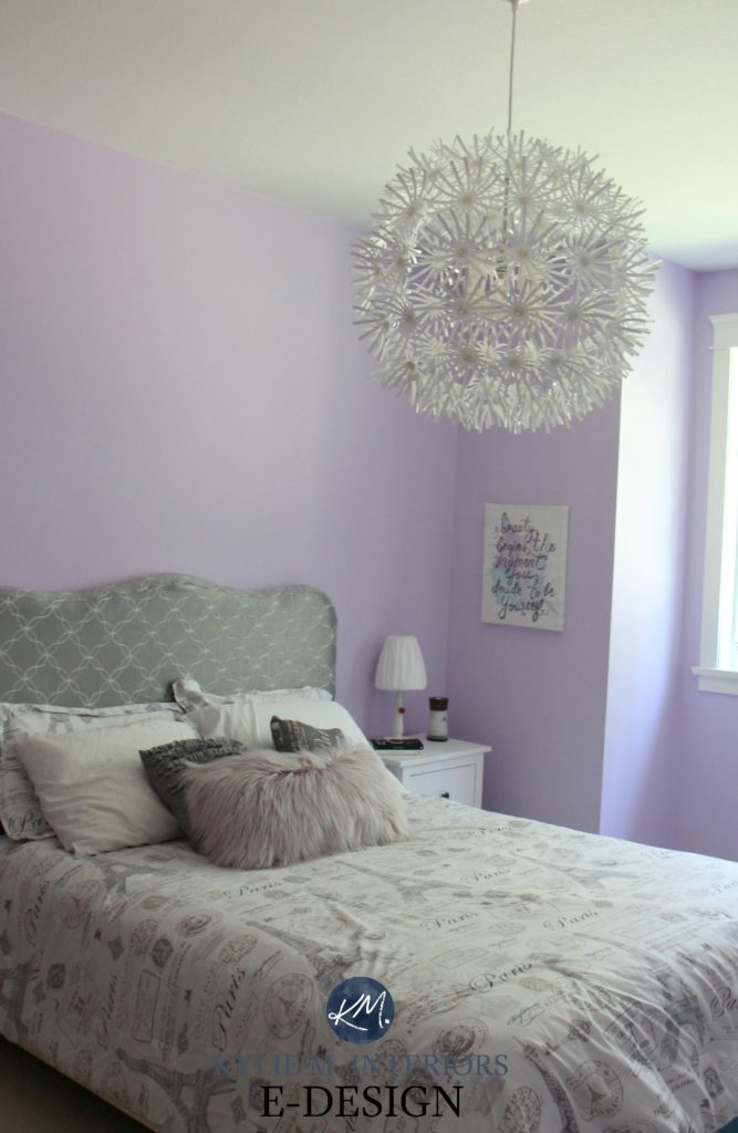 Best purple paint colour, Benjamin Moore Lily Lavender in girls or tween bedroom with gray and white. Kylie M INteriors Edesign, edecor and online paint colour blog