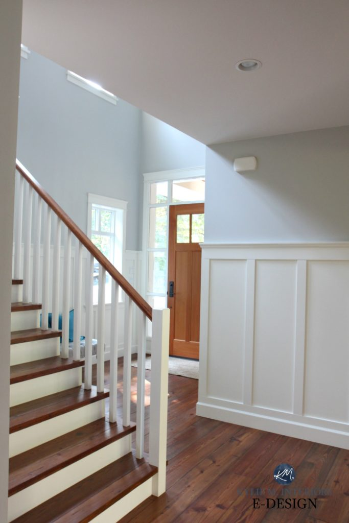 Entryway, stairwell, reclaimed pine wood flooring, treads, white railing, white wainscoting. Benjamin Moore Cloud White and Gray Owl. Kylie M Interiors Edesign, online paint colour and decorating blog