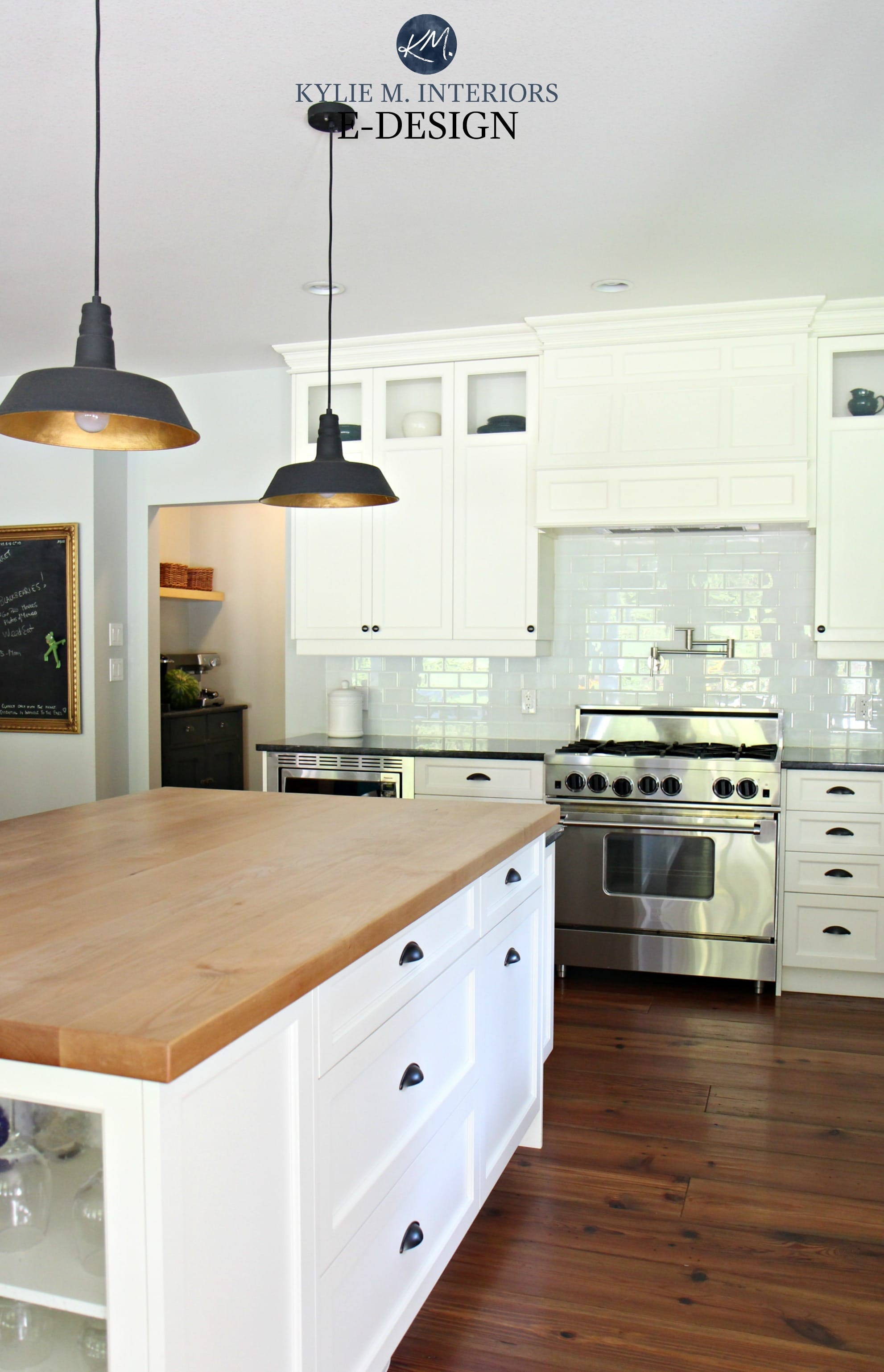Farmhouse country style kitchen, Cloud White cabinets, black granite countertop, butcher block ...