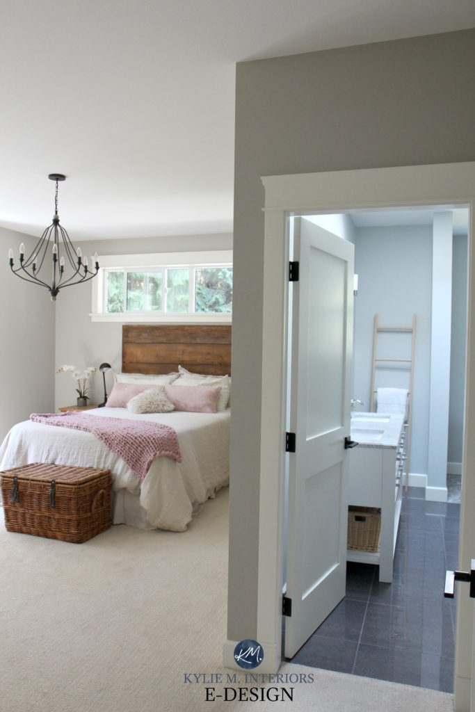 Romantic rustic master bedroom and ensuite bathroom. Benjamin Moore Revere Pewter and Wickham Gray. Kylie M Interiors Edesign, edecor and online paint colour expert blog