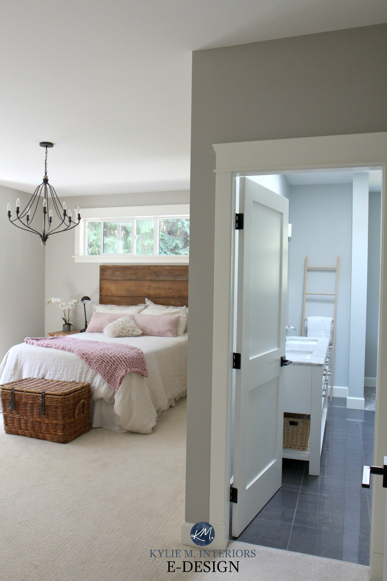 Romantic rustic master bedroom and ensuite bathroom benjamin moore revere pewter and wickham gray kylie m interiors edesign edecor and online paint