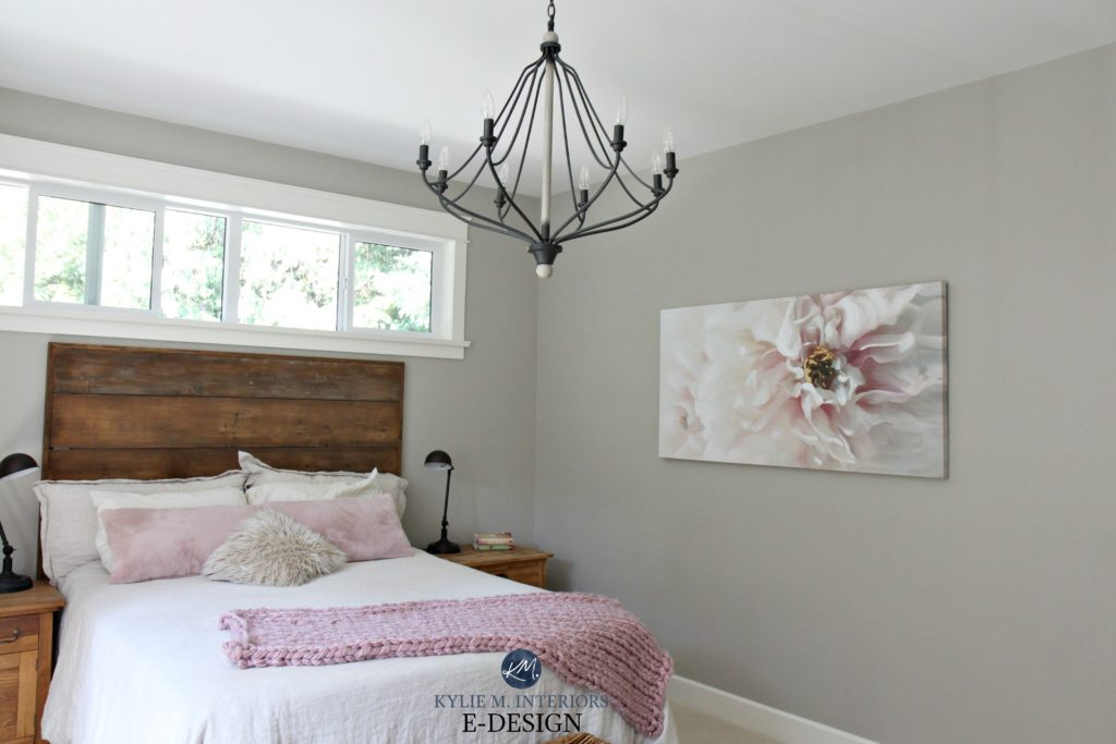 Rustic romantic style bedroom with reclaimed wood, Benjamin Moore Revere PEwter, chandelier, pink blush accents. Kylie M Interiors E-design, online paint color consultant and edecor blog