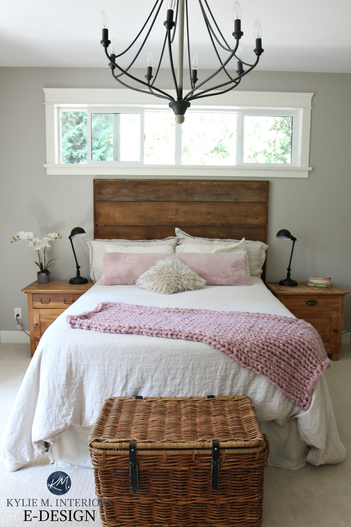Rustic romantic style bedroom with reclaimed wood benjamin moore revere pewter chandelier pink blush accents kylie m interiors edesign online paint