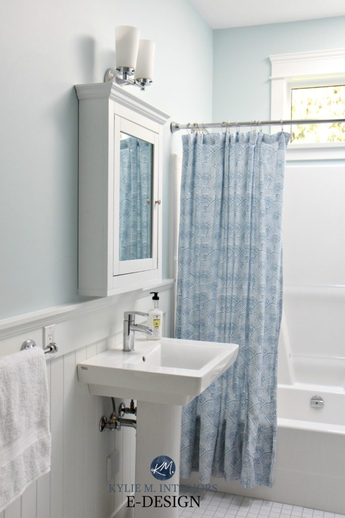 Small bathroom ideas pedestal sink, beadboard Benjamin Moore Ocean Air, blue paint colour, medicine cabinet shower curtain. Kylie M Interiors Edesign, edecor, online paint colour blog