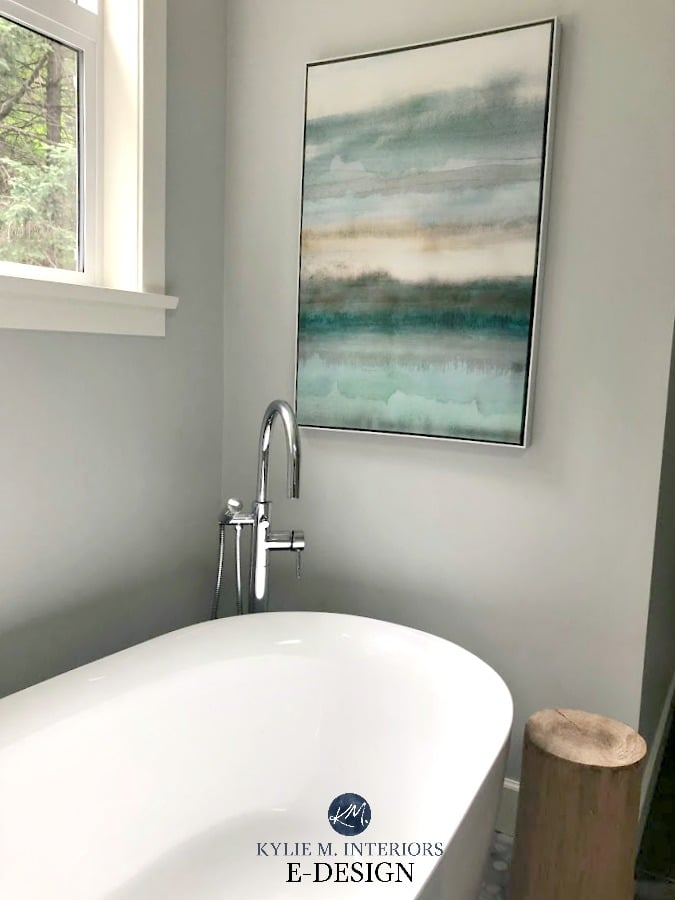 Spa style relaxing bathroom with Benjamin Moore Wickham Gray. Best gray paint color. Kylie M INteriors Edesign, online paint color consulting blog