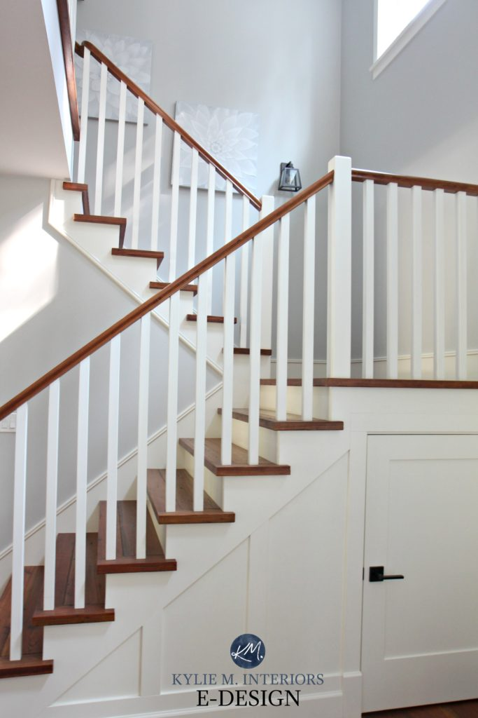 Staircase, white spindles and wood treads and stair raillings. Benjamin Moore Cloud White, Gray Owl. Kylie M Interiors Edesign, online paint color expert and blogger