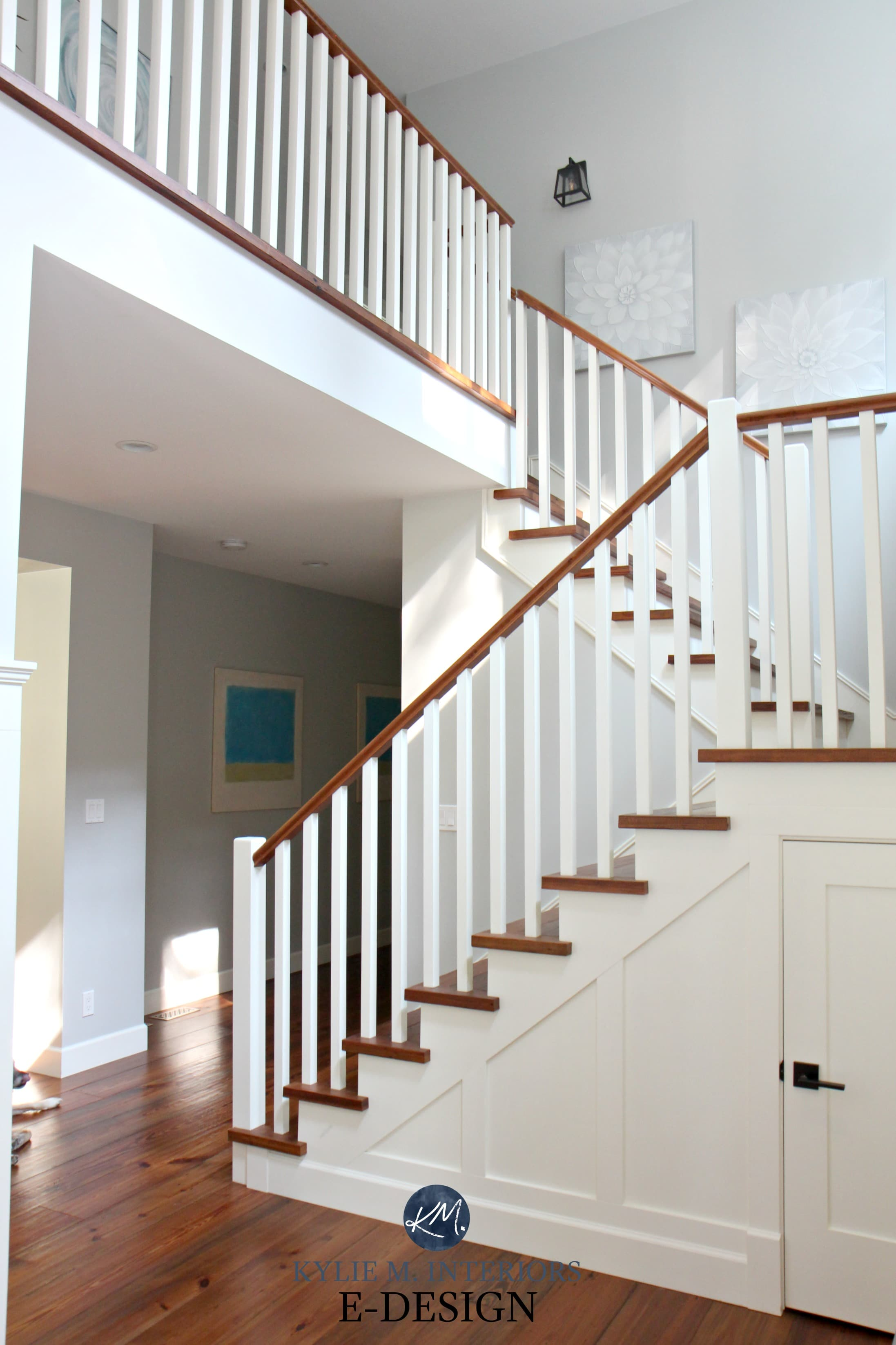 Stairs Reclaimed Wood Floor And Treads Benjamin Moore
