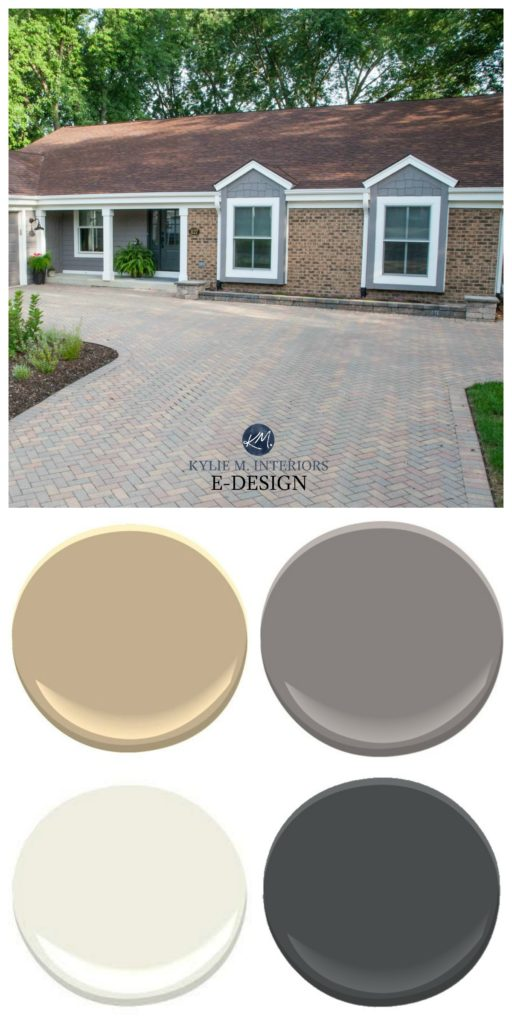 Brick exterior with driveway. Rancher. Kylie M INteriors Edesign, warm gray, off white and black - Sherwin Williams