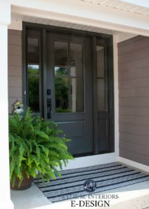 Front door exterior painted Sherwin Williams Iron Ore, Mink siding, Alabaster trim. Kylie M INteriors Edesign, online paint colour consultant