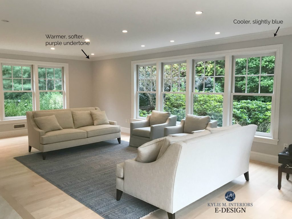 How to choose the best gray paint colours, undertones. Kylie M INteriors example of Benjamin Moore Shoreline