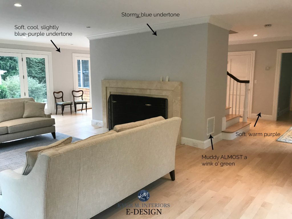 How to pick the best gray paint colour. Showing Benajmin Moore Shoreline by Kylie M INteriors Edesign blog