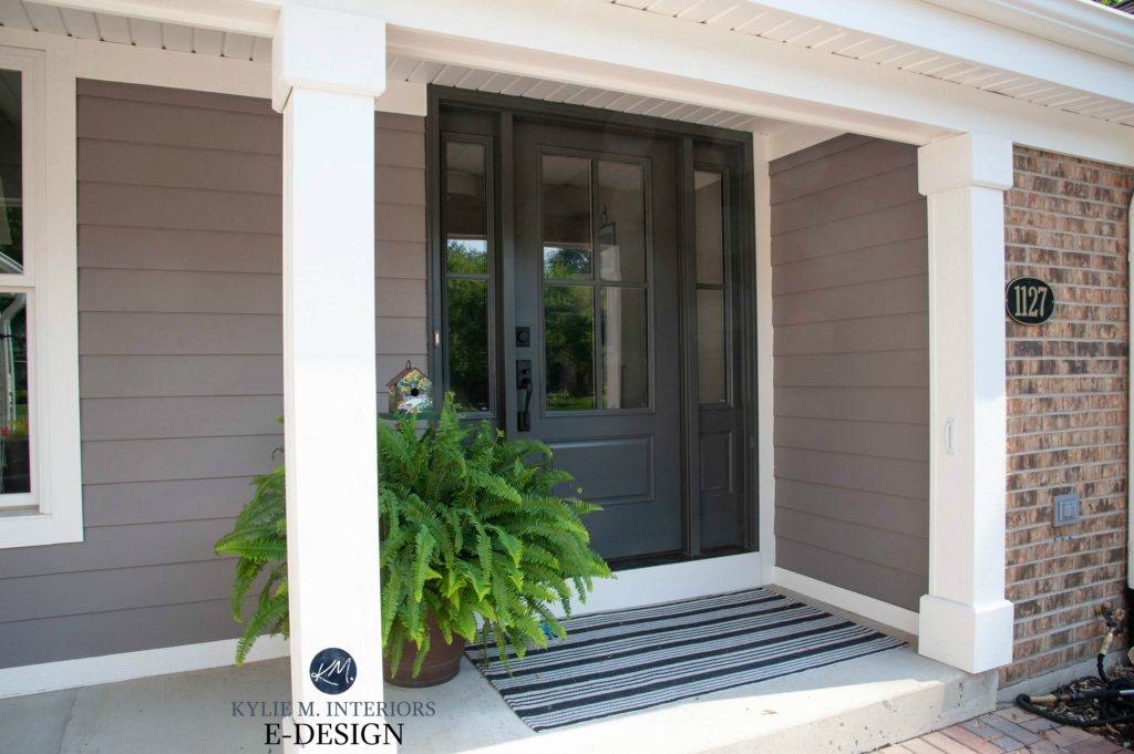 Kylie M Interiors EDESIGN, exterior front door painted Sherwin Williams Iron Ore, trim Alabaster, siding Mink. With brick