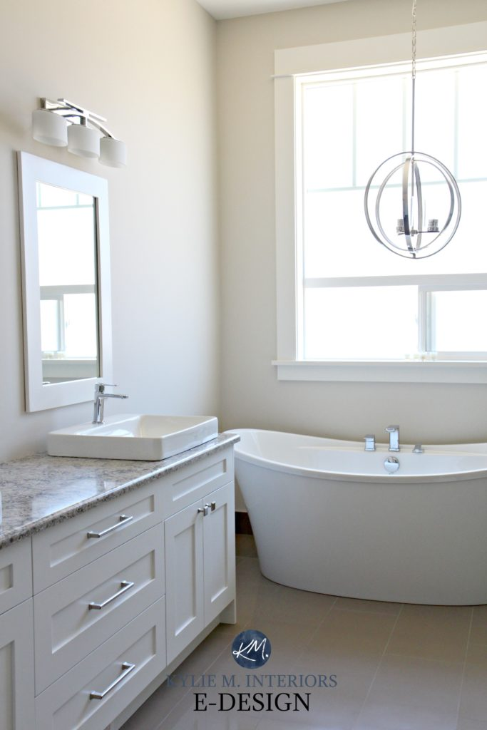 Sherwin Williams Aesthetic White, best off-white paint colour. Bathroom with Quartz Cambria Wellington, free-standing white tub. Kylie M INteriors Edesign