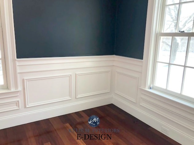 Benjamin Moore Hale Navy, White Dove wainscoting, red toned exotic wood floor. Kylie m Interiors E-design, client photo