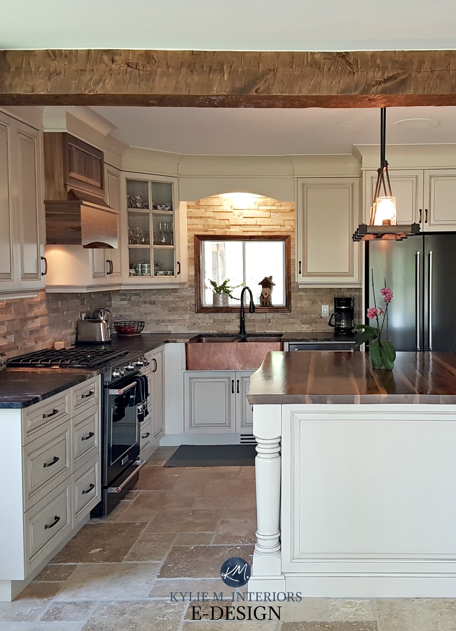 Kitchen cabinets painted Benjamin Moore Ballet White ...