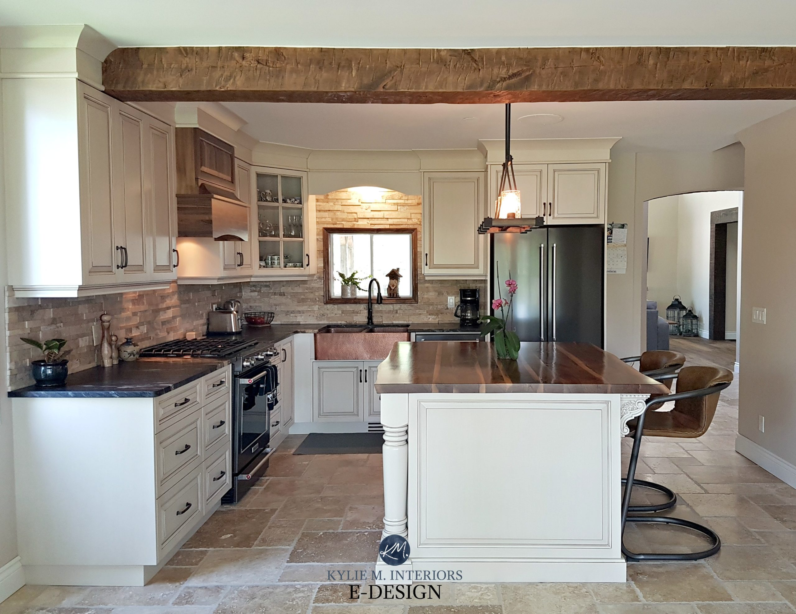 Kitchen cabinets painted Benjamin Moore Ballet White, glaze ...