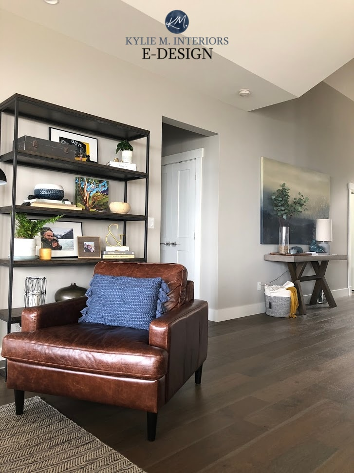 Kylie M Interiors Paint Colour Review of Sherwin Williams Colonnade Gray in home with gray brown wood floors