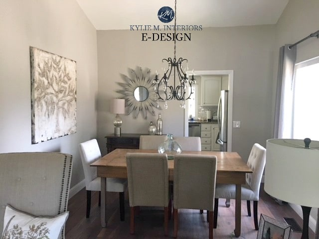 Sherwin Williams Collonade Gray in dining room. Best greige paint colour Kylie M INteriors Edesign, online paint consulting