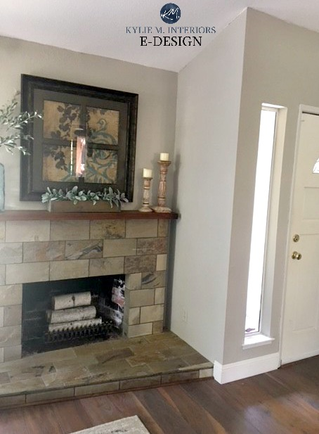 Sherwin Williams Collonade Gray with slate tile fireplace. Best greige paint colour. Kylie M INteriors Edesign, online paint color consulting