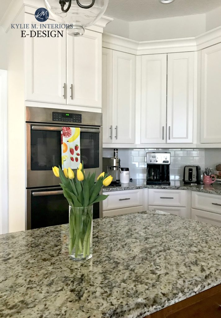 Sherwin Williams Dover White painted maple cabinets, Edgecomb Gray paint colour granite countertops. Kylie M Interiors Edesign and online paint color