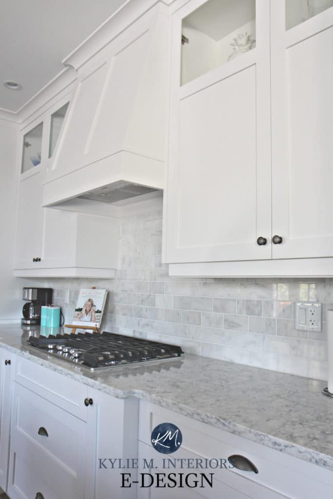 The best white for kitchen cabinets with marble. Sherwin Williams High Reflective White. Kylie M INteriors Edesign, online paint colour consultant