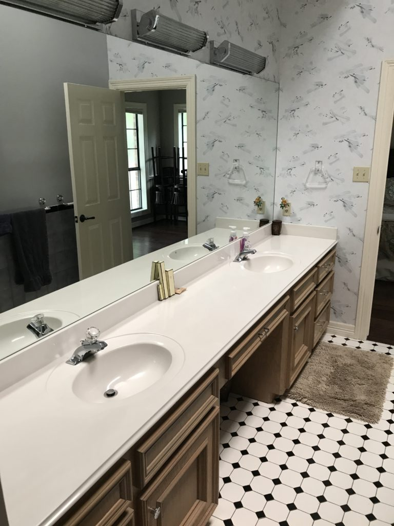 BEFORE photos of bathroom remodel with restoration hardware vanity, cement tile, ARgos