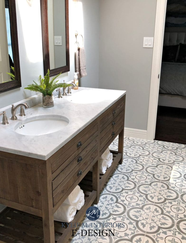 Bathroom remodel. Kylie M Interiors Edesign, paint color consultant. Sherwin Williams Argos, Restoration Hardware vanity, cement patterned floor tile