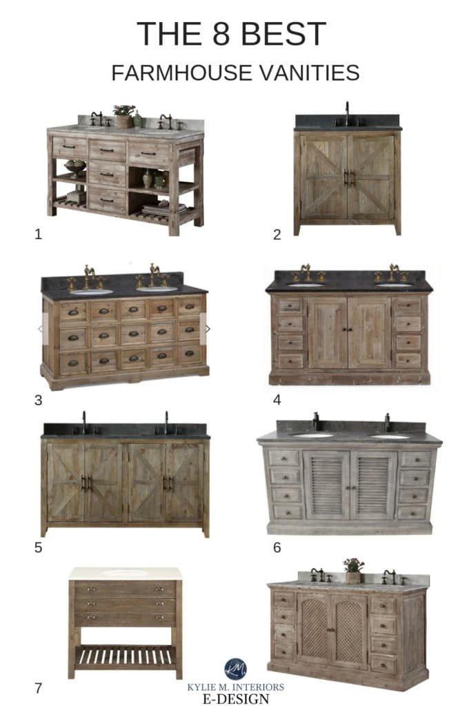 Best affordable farmhouse style wood vanities for bathroom. Wayfair, sourced by Kylie M INteriors online shopping