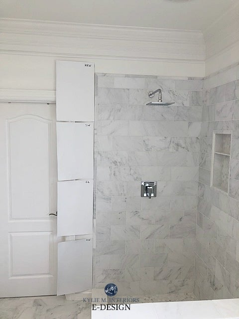 Benjamin Moore Decorators White, Chantilly Lace, Super White compared to marble tile or countertop. Best white paint color. Kylie M INteriors Edesign
