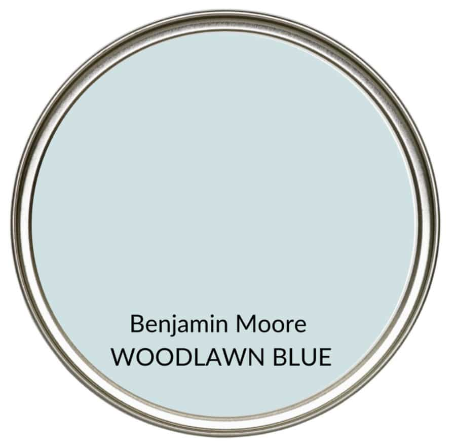 Best farmhouse country gray blue paint colour, Benjamin Moore Woodlawn Blue. Kylie M Interiors, Edesign, online color consulting and advice blogger