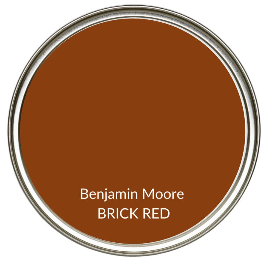 Best farmhouse country rust, red paint colour, Benjamin Moore Brick Red. Kylie M Interiors, Edesign, online color consulting and advice blogger