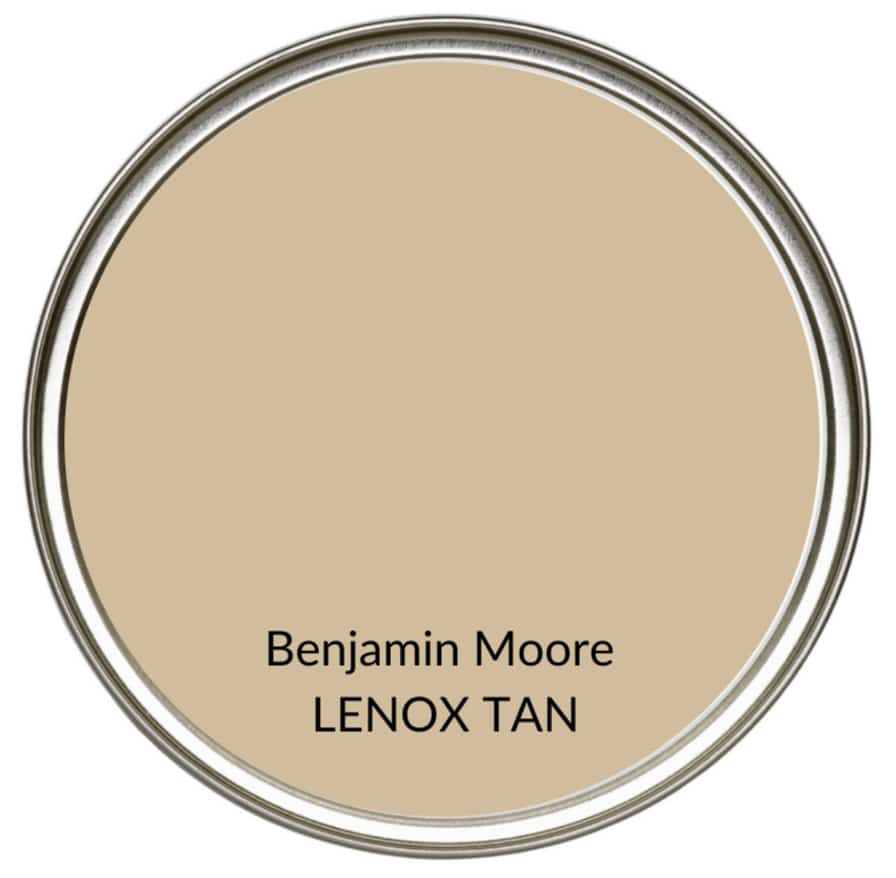 Best farmhouse country warm beige neutral paint colour, Benjamin Moore Lenox Tan. Kylie M Interiors, Edesign, online color consulting and advice blogger