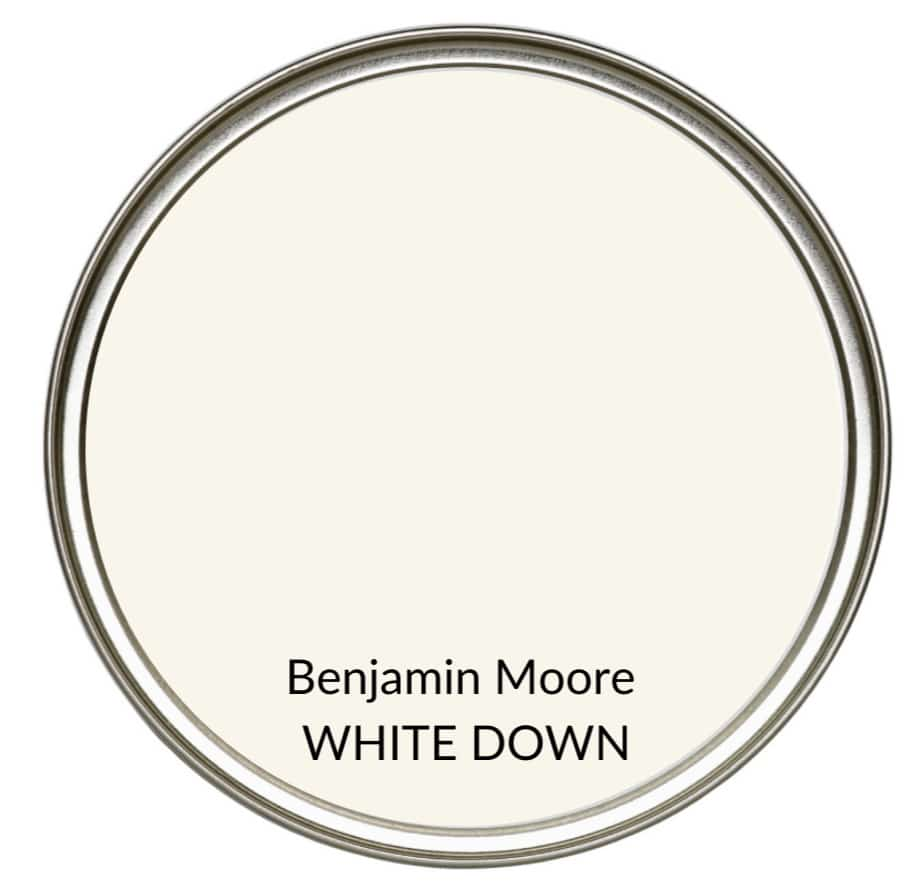 Best farmhouse country yellow cream paint colour, Benjamin Moore White Down. Kylie M Interiors, Edesign, online color consulting and advice blogger