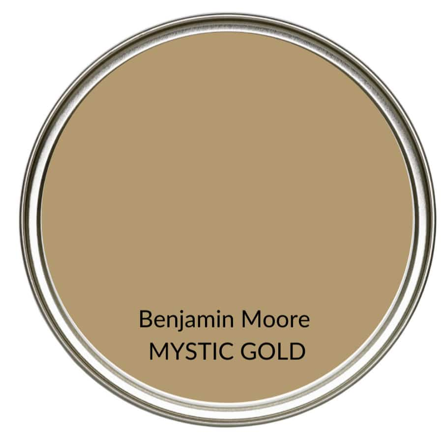 Best modern farmhouse country paint colors. Benjamin Moore Mystic Gold. Kylie M Interiors Edesign, online advice blogger