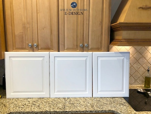 Comparing white paint colors on cabinets. Cloud White and White Dove. Kylie M Interiors Edesign with wood cabinets