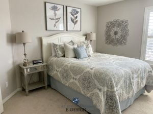 Sherwin Williams Accessible Beige, guest bedroom, beige carpet, bedding and home decor. Kylie M INteriors best beige paint colours. Edesign, online paint color consult. Diy